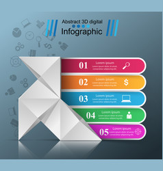 Five items - origami style infographic vector