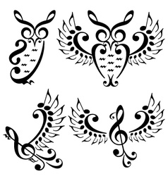 music bird and owl set vector image vector image