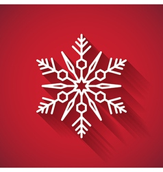 Snowflake icon with long shadow on red background vector image vector image