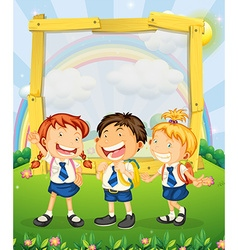 Children in school uniform standing on the park vector image vector image