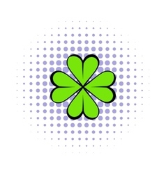 Four leaf clover icon comics style vector image