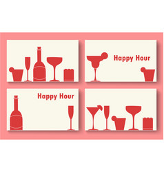 happy hour business cards set vector image vector image