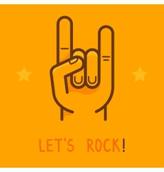 lets rock banner in outline style vector image
