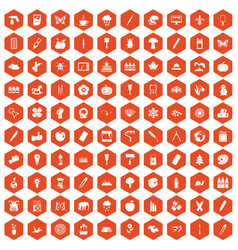 100 eco design icons hexagon orange vector