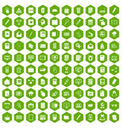 100 folder icons hexagon green vector