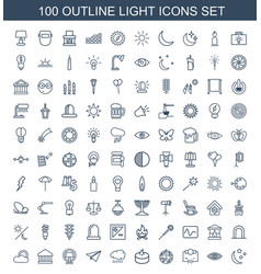 100 light icons vector