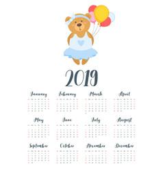 2019 cute teddy bear calendar vector image