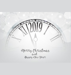 2019 happy new year with retro clock vector image