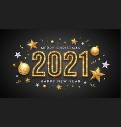 2021 merry christmas and happy new year neon light vector image