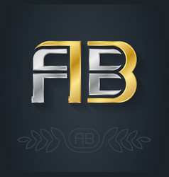 A and b - initials or logo ab - metallic 3d icon vector