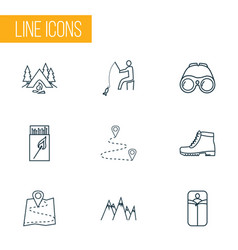 activity icons line style set with sleeping bag vector image