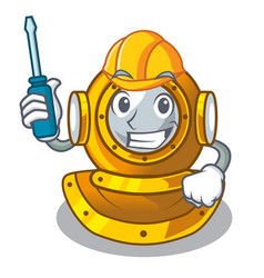 automotive diving helmet on a cartoon table vector image