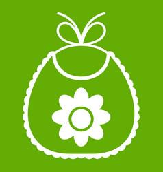 baby bib icon green vector image