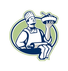 Baker chef cook serving pie retro vector
