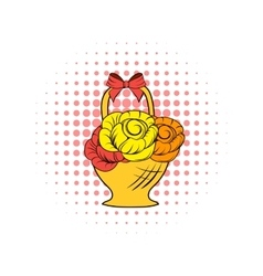 Basket flowers comics icon vector image