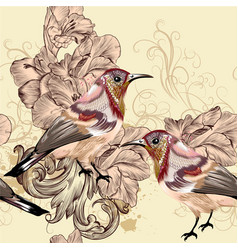 beautiful seamless wallpaper pattern with birds vector image