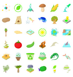 Biology and ecology icons set cartoon style vector