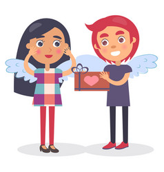 Boy going to present gift box heart sign to girl vector