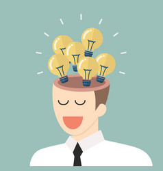 bright idea from businessman head vector image