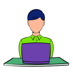 Businesswoman using laptop icon cartoon vector