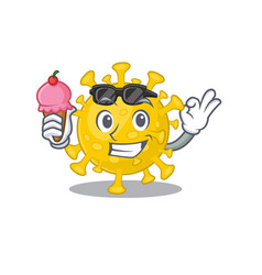 Cartoon character corona virus diagnosis vector