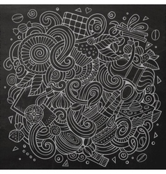 Cartoon doodles cafe coffee shop background vector