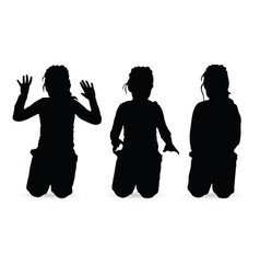Child girl kneels silhouette vector