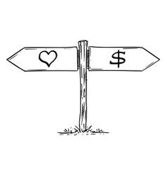 Choose love or money profit or emotion hand vector