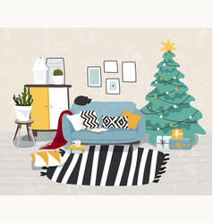 christmas home interior decorated for holiday vector image