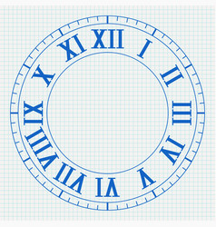 clock with roman numerals on lined paper vector image