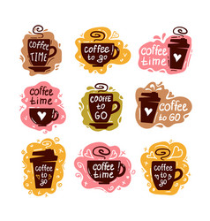 coffee cup logo doodle lettering flat barista vector image
