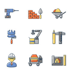 construction shop icons set cartoon style vector image