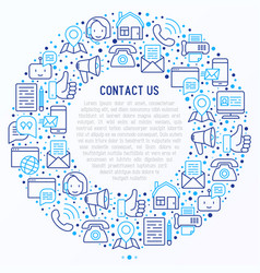 contact us concept in circle with thin line icons vector image