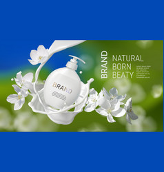 Cosmetic realistic with milk swirl jasmine vector