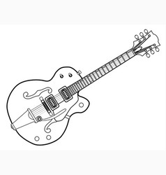 Country and western guitar outline vector