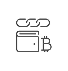 cryptocurrency wallet line outline icon vector image