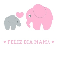 Cute cartoon baby and mom elephant vector image