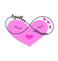 Cute cartoon heart with infinity symbol love pink vector