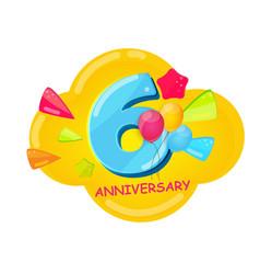 Cute cartoon template 6 years anniversary vector