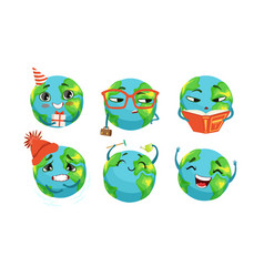 cute earth cartoon character collection funny vector image