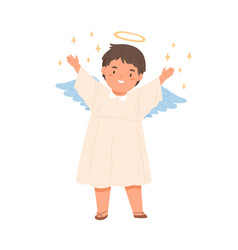 Cute happy angel child with wings halo and stars vector