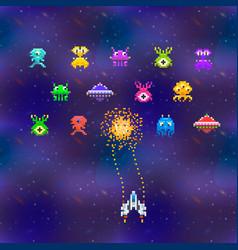 cute space invaders in pixel art style on deep vector image