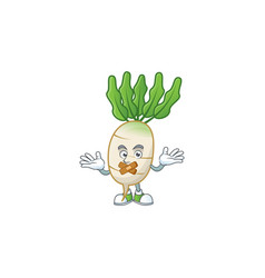Daikon cartoon character style with silent gesture vector