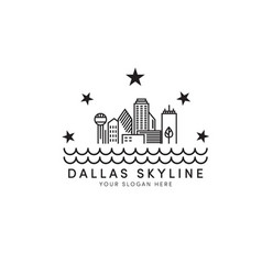 Dallas skyline logo designs with stars and river vector