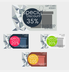 discount cards set polygonal texture vector image