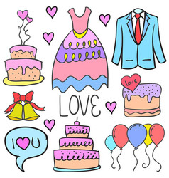 Doodle of wedding style collection vector