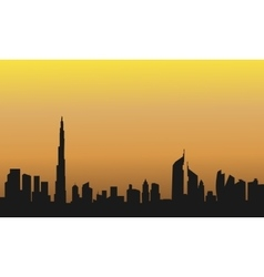 Dubai at the sunrise of silhouette vector image