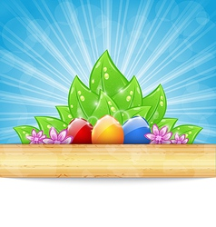 Easter background with colorful eggs leaves vector