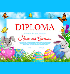 Education school diploma with easter rabbits eggs vector