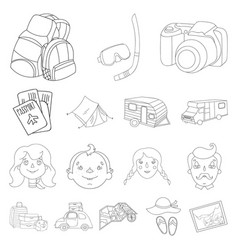 Family holiday outline icons in set collection for vector